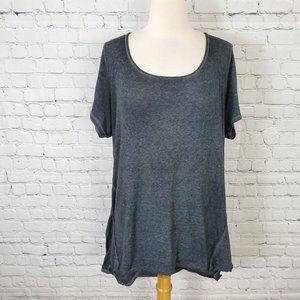 Torrid Short Sleeve Knit Top Black Gray 3 3X 22 24